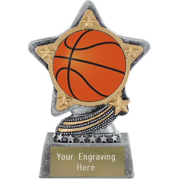 """Centre Basketball Trophy by Infinity Stars Antique Silver 10cm (4"""")"""