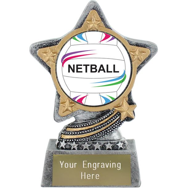 """Centre Netball Trophy by Infinity Stars Antique Silver 10cm (4"""")"""