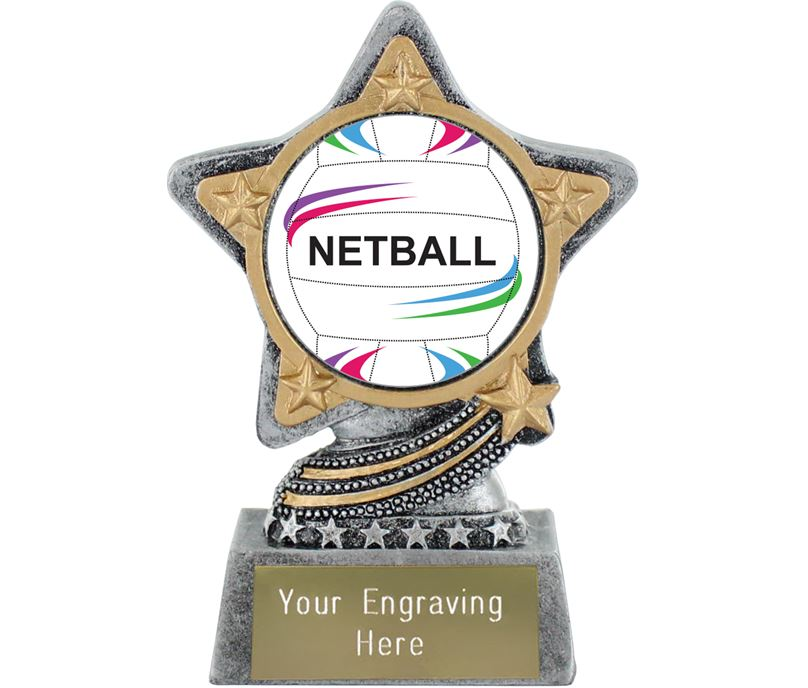 "Centre Netball Trophy by Infinity Stars Antique Silver 10cm (4"")"