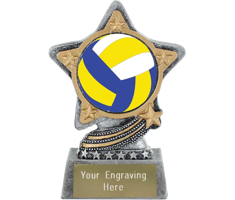 """Centre Volleyball Trophy by Infinity Stars Antique Silver 10cm (4"""")"""