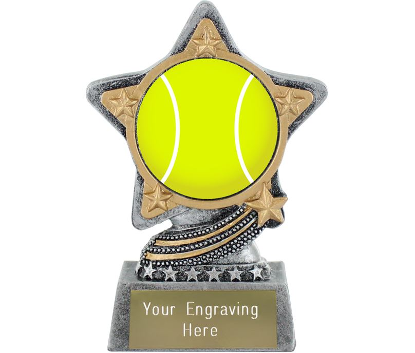 """Centre Tennis Trophy by Infinity Stars Antique Silver 10cm (4"""")"""