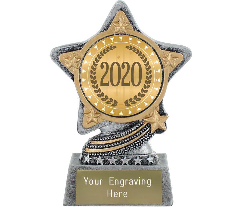 "2020 Trophy Laurel Wreath by Infinity Stars Antique Silver 10cm (4"")"