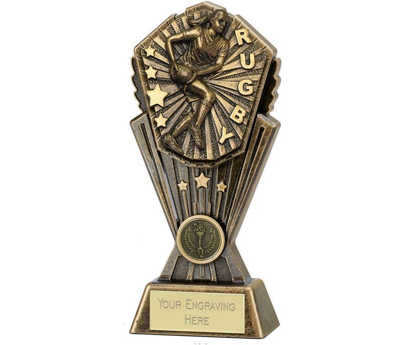 """Cosmos Female Rugby Trophy 20cm (8"""")"""