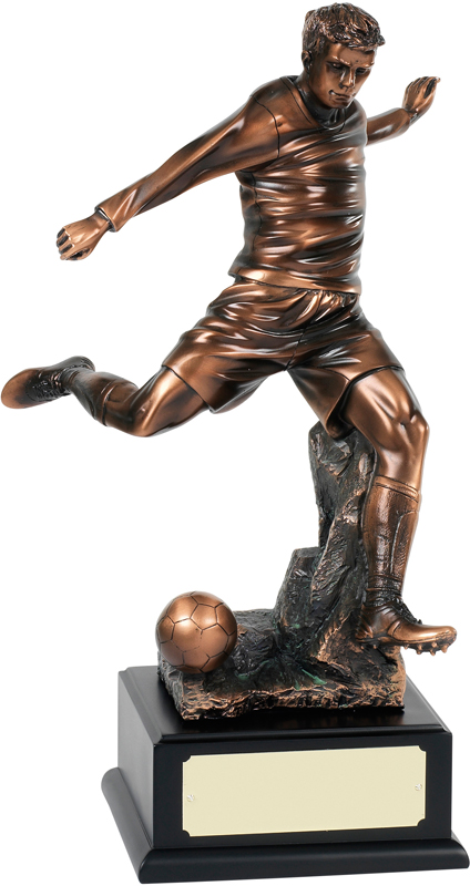 "Bronze Plated Football Player Action Trophy 37cm (14.5"")"