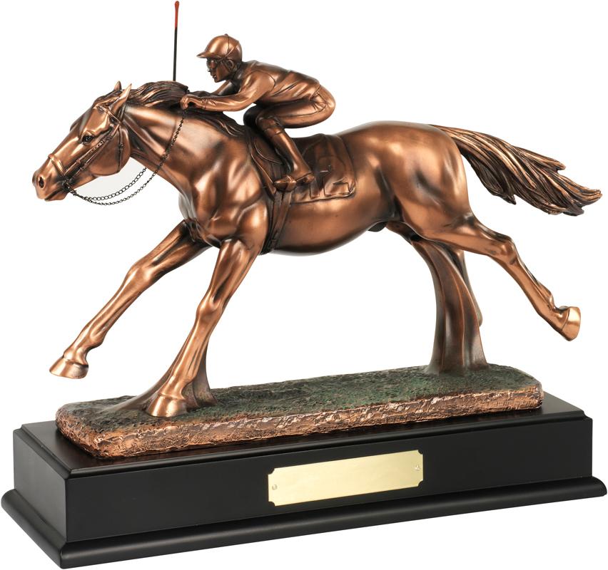 "Bronze Plated Horse & Jockey Trophy 26.5cm (10.5"")"