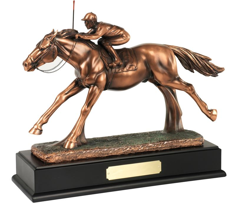 "Bronze Plated Horse & Jockey Trophy 26.5cm (10.5"")"