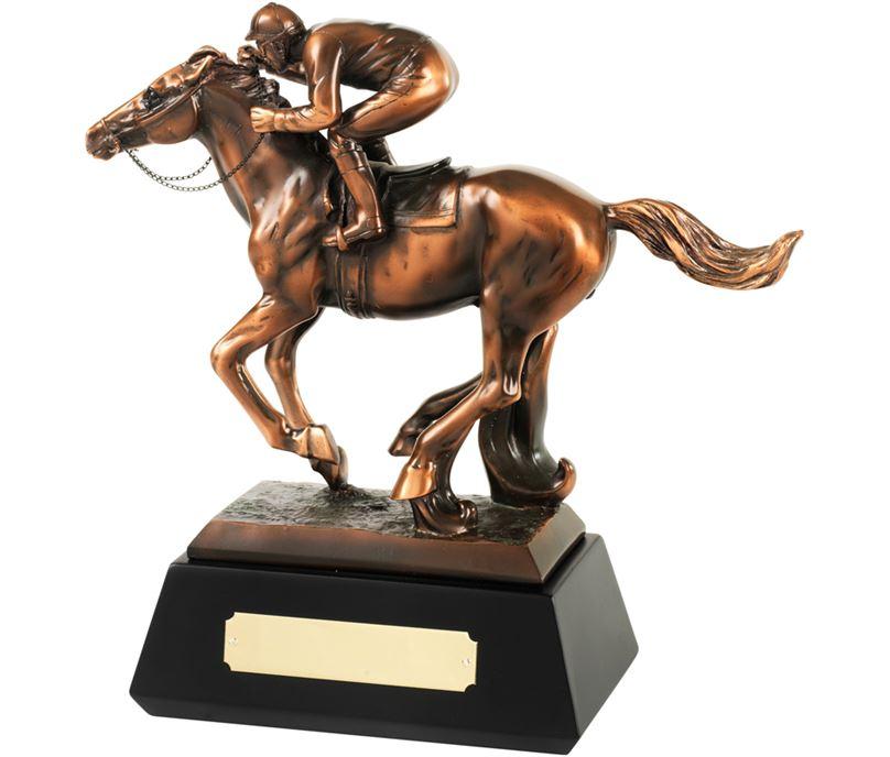 "Bronze Plated Horse & Jockey Trophy 25.5cm (10"")"
