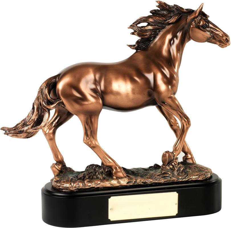 "Bronze Plated Horse Stallion Trophy on Black Base 35.5cm (14"")"