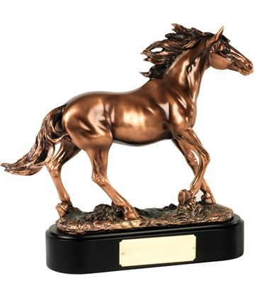 "Bronze Plated Horse Stallion Trophy on Black Base 35.5cm (14"")"