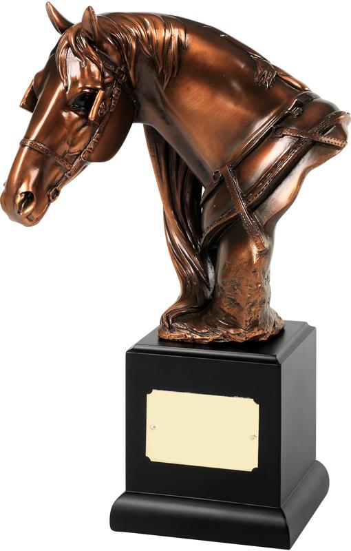 "Bronze Plated Horses Head Trophy on Black Base 29cm (11.5"")"