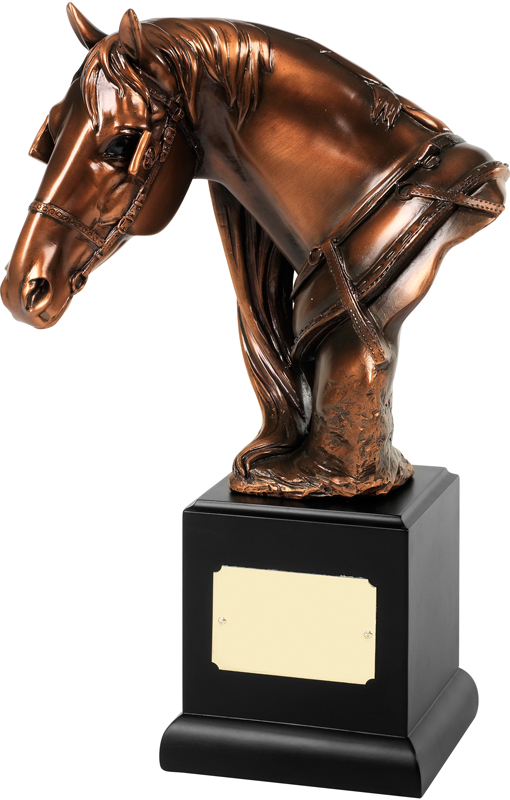 "Bronze Plated Horses Head Trophy on Black Base 29cm (11.5"")"