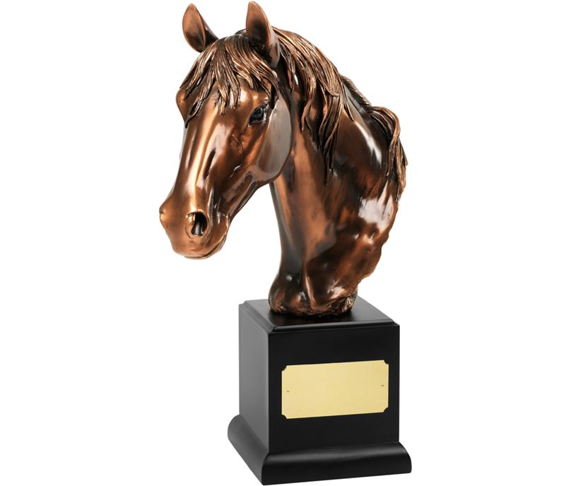 "Bronze Plated Horses Head Trophy on Black Base 35.5cm (14"")"