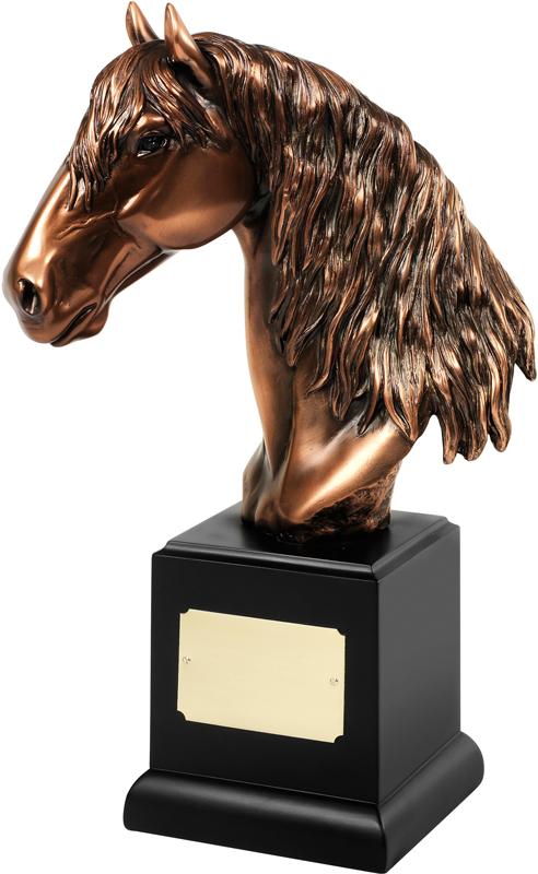 "Bronze Plated Horses Head Trophy on Black Base 31cm (12.25"")"