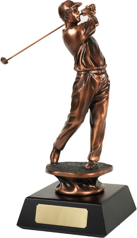 "Bronze Plated Golfer Swinging Trophy 25.5cm (10"")"