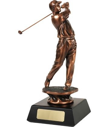 "Bronze Plated Golfer Swinging Trophy 34.5cm (13.5"")"