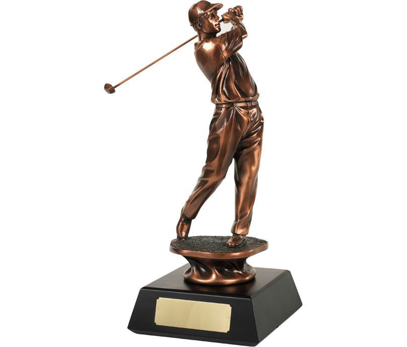 "Bronze Plated Golfer Swinging Trophy 34.5cm (13.5"")"