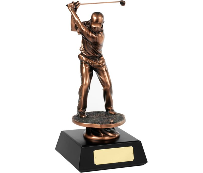 "Bronze Plated Champion Golf Swing Trophy 28cm (11"")"