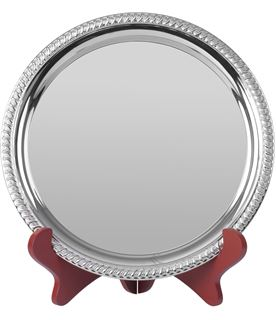 "Round Nickel Plated Cast Salver with Gadroon Edge 25.5cm (10"")"