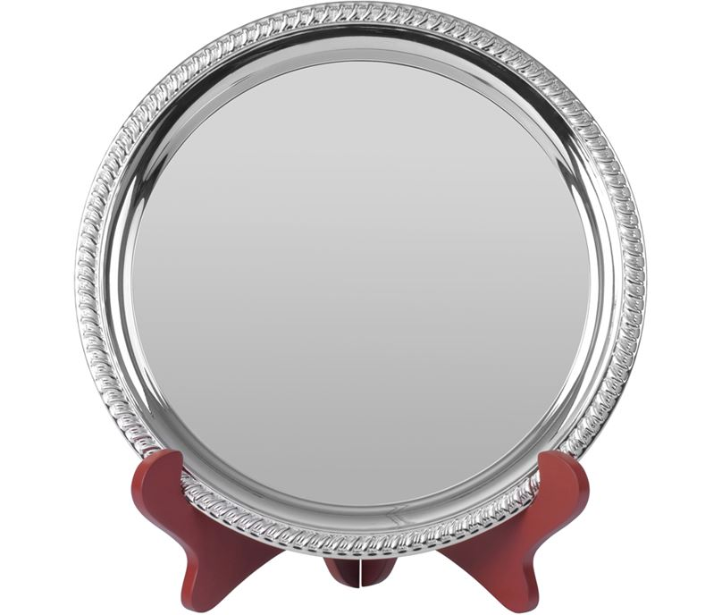 """Round Nickel Plated Cast Salver with Gadroon Edge 15cm (6"""")"""