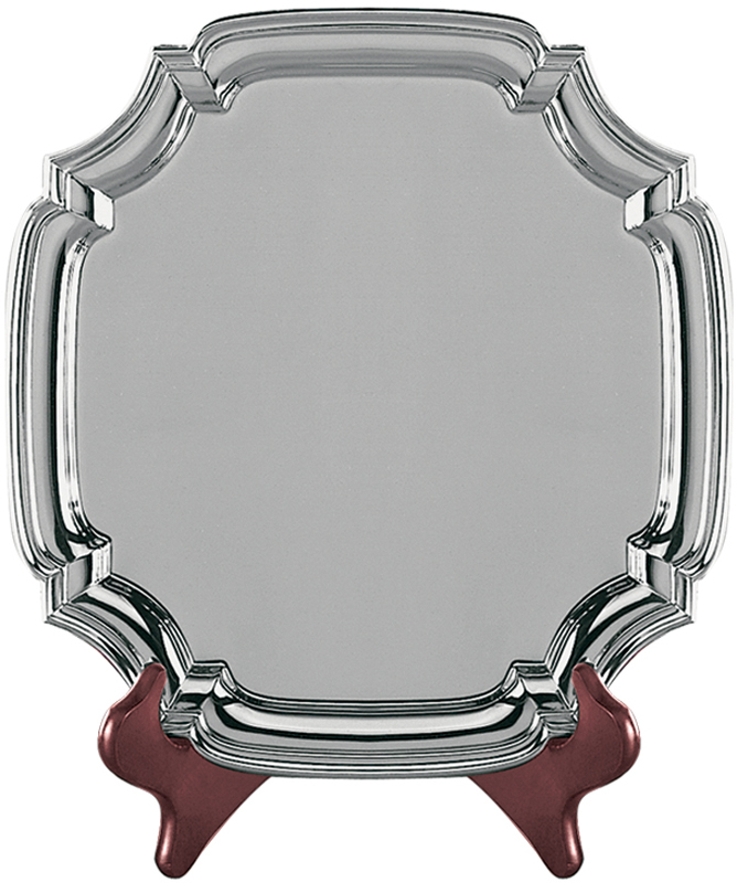 "Square Nickel Plated Cast Chippendale Salver 30.5cm (12"")"