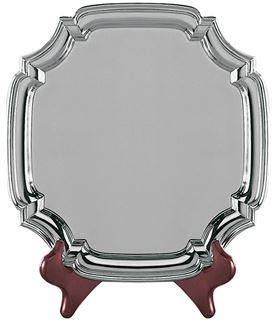 "Square Nickel Plated Cast Chippendale Salver 25.5cm (10"")"