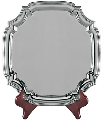 "Square Nickel Plated Cast Chippendale Salver 21.5cm (8.5"")"