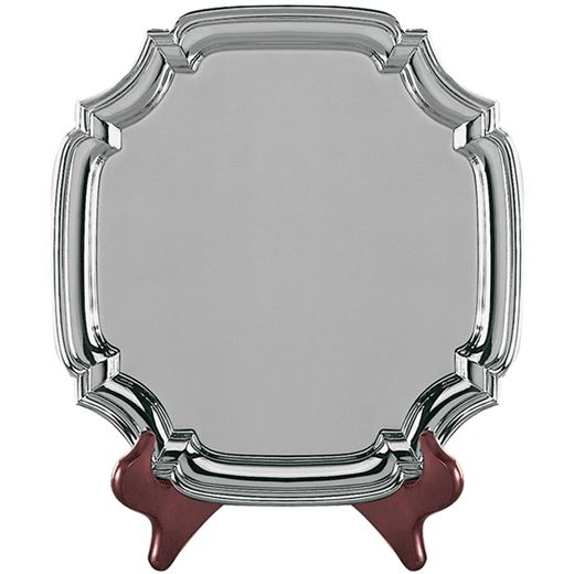 """Square Nickel Plated Cast Chippendale Salver 21.5cm (8.5"""")"""