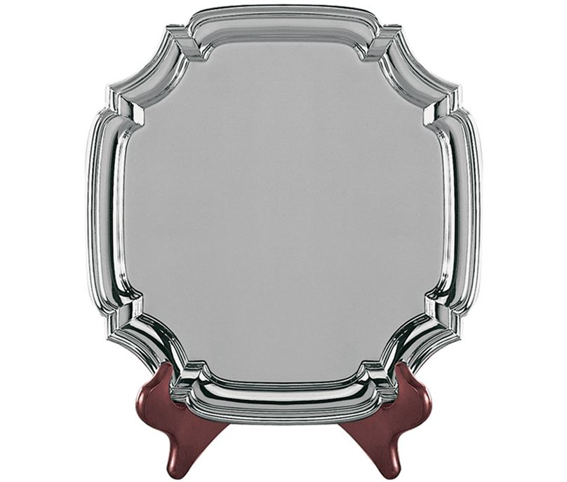 """Square Nickel Plated Cast Chippendale Salver 18cm (7"""")"""