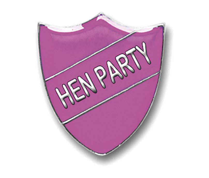 """Pink & Silver Hen Party Shield Badge 2.5cm (1"""")"""