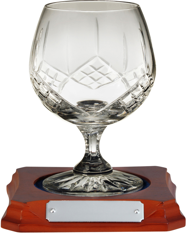"Hand Cut Crystal Brandy Glass on Wooden Base 12.5cm (5"")"