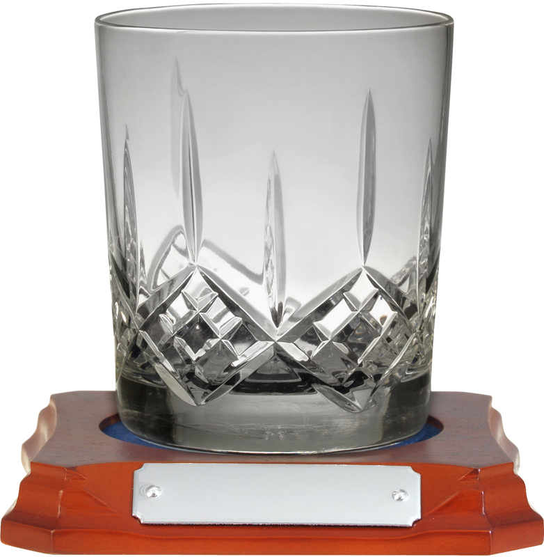 "Hand Cut Crystal Whiskey Glass on Wooden Base 10cm (4"")"