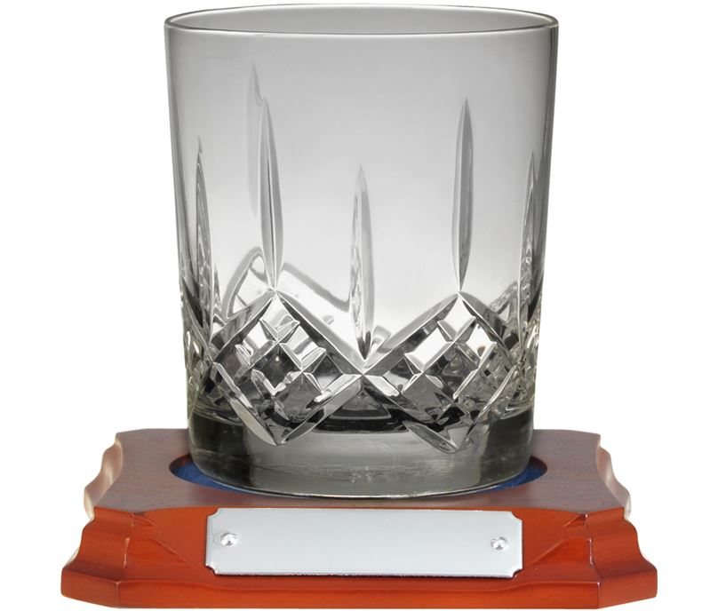 """Hand Cut Crystal Whiskey Glass on Wooden Base 10cm (4"""")"""
