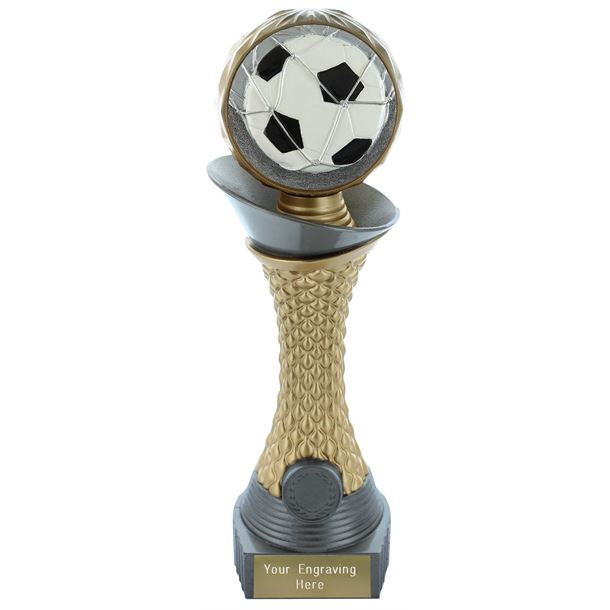 "Football Trophy Heavyweight Hemisphere Tower Silver & Gold 23cm (9"")"