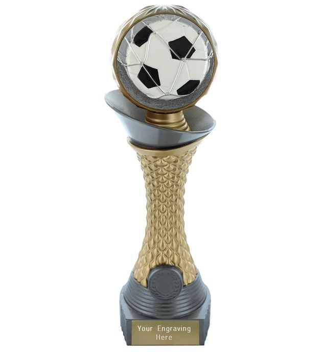 "Football Trophy Heavyweight Hemisphere Tower Silver & Gold 25.5cm (10"")"