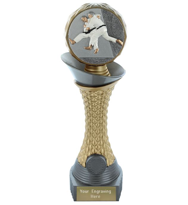 "Judo Trophy Heavyweight Hemisphere Tower Silver & Gold 30.5cm (12"")"