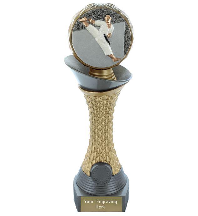 "Karate Trophy Heavyweight Hemisphere Tower Silver & Gold 30.5cm (12"")"