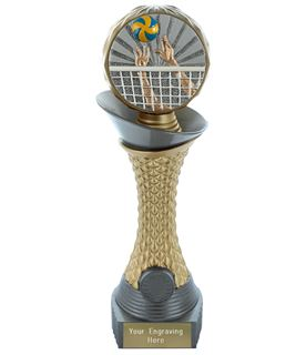 """Volleyball Trophy Heavyweight Hemisphere Tower Silver & Gold 25.5cm (10"""")"""