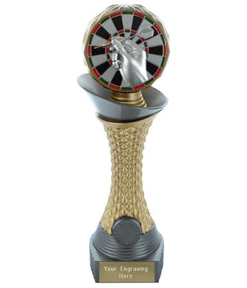 "Darts Trophy Heavyweight Hemisphere Tower Silver & Gold 25.5cm (10"")"