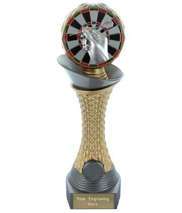 "Darts Trophy Heavyweight Hemisphere Tower Silver & Gold 30.5cm (12"")"