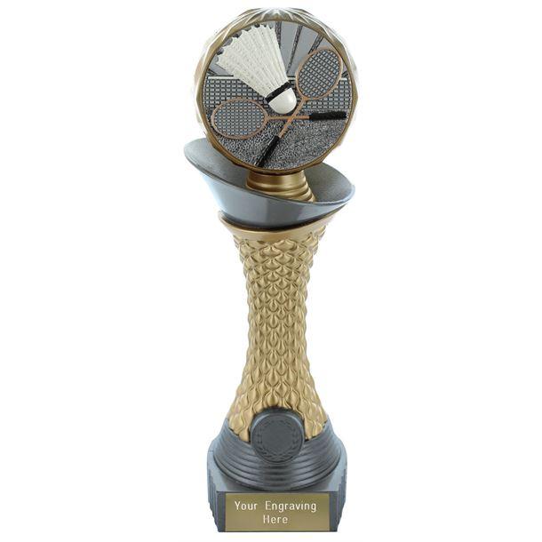 "Badminton Trophy Heavyweight Hemisphere Tower Silver & Gold 23cm (9"")"