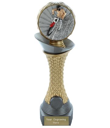 "Motocross Trophy Heavyweight Hemisphere Tower Silver & Gold 25.5cm (10"")"