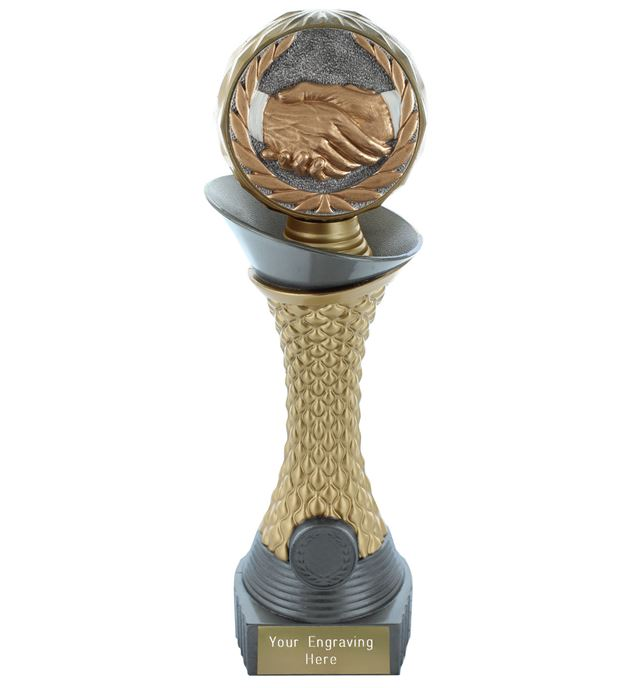 "Handshake Trophy Heavyweight Hemisphere Tower Silver & Gold 25.5cm (10"")"