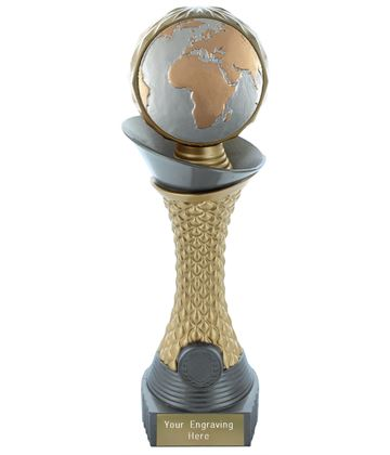 "Globe Trophy Heavyweight Hemisphere Tower Silver & Gold 23cm (9"")"