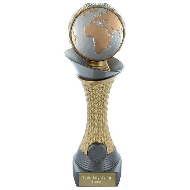 "Globe Trophy Heavyweight Hemisphere Tower Silver & Gold 23cm (9"")"