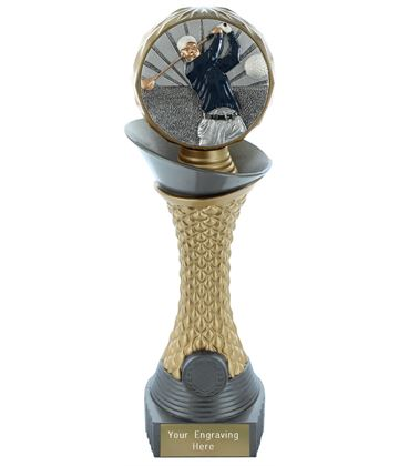 "Golf Trophy Heavyweight Hemisphere Tower Silver & Gold 25.5cm (10"")"