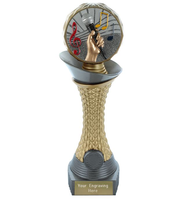 "Music Trophy Heavyweight Hemisphere Tower Silver & Gold 23cm (9"")"
