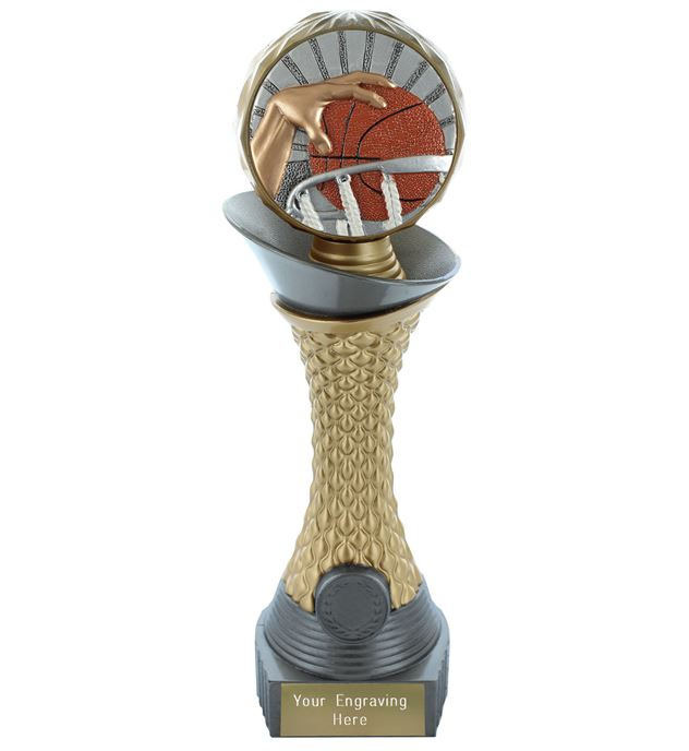 "Basketball Trophy Heavyweight Hemisphere Tower Silver & Gold 25.5cm (10"")"