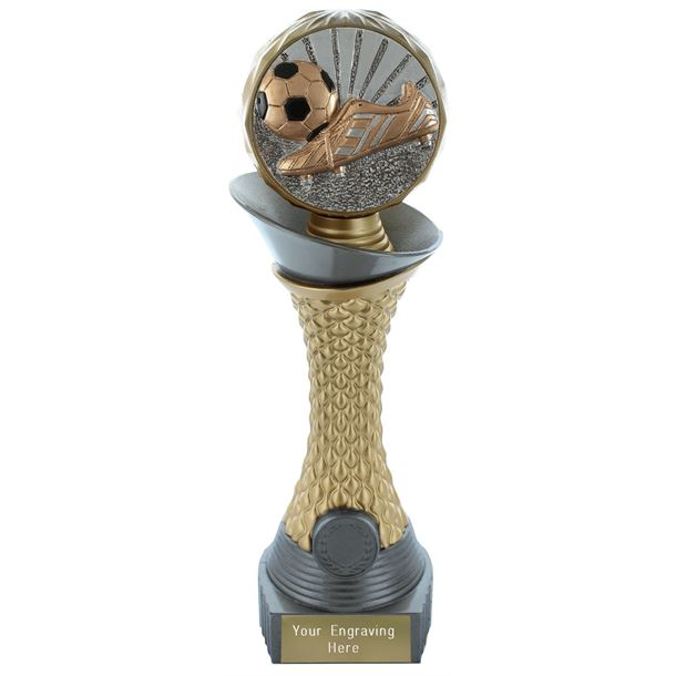 "Football Boot & Ball Trophy Heavyweight Hemisphere Tower Silver & Gold 23cm (9"")"