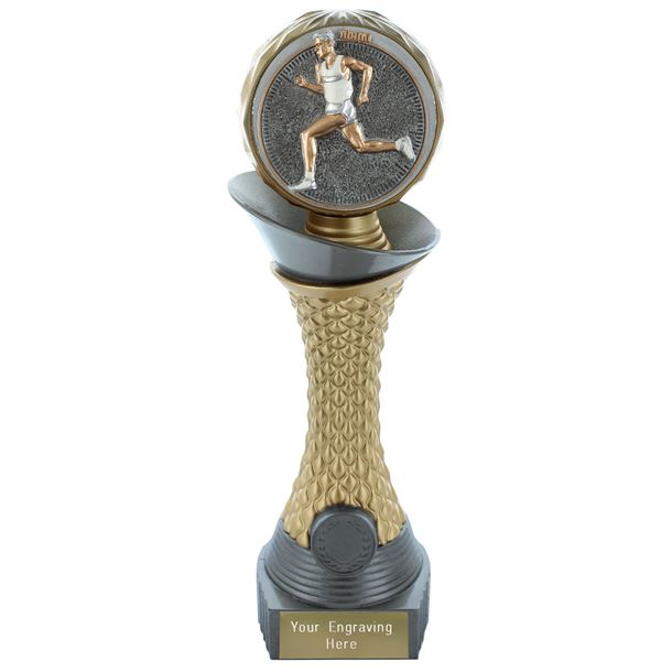 "Male Running Trophy Heavyweight Hemisphere Tower Silver & Gold 25.5cm (10"")"