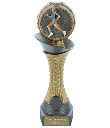 "Female Running Trophy Heavyweight Hemisphere Tower Silver & Gold 25.5cm (10"")"